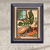 Картины и панно handmade. Livemaster - original item Oil painting monstera leaves papaya bunch of keys. Handmade.