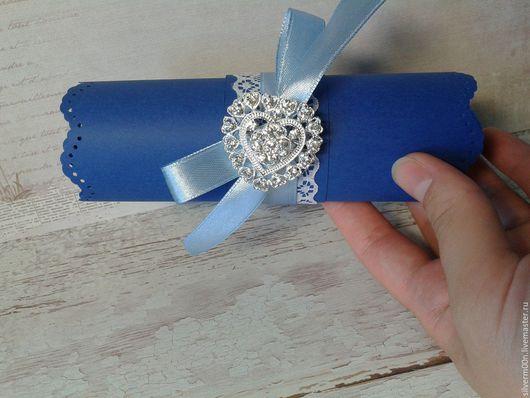 Свадебные аксессуары ручной работы. Ярмарка Мастеров - ручная работа. Купить Свадебные пригласительные в форме свитка. Handmade. Тёмно-синий