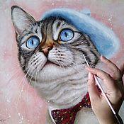Картины и панно handmade. Livemaster - original item Oil painting with a cat Pink dreams. Handmade.