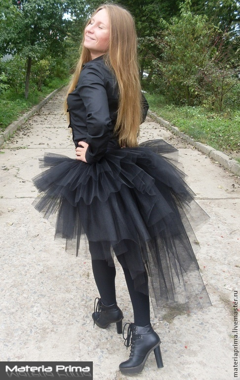 Юбка из Фатина со шлейфом черная Хэллоуин готика 89267060998