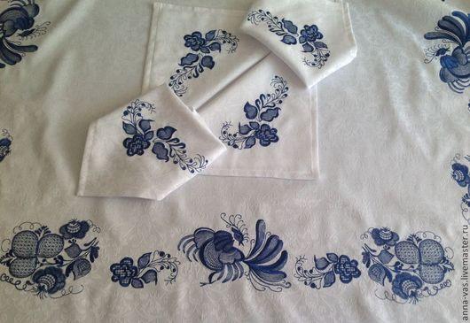"""Текстиль, ковры ручной работы. Ярмарка Мастеров - ручная работа. Купить Скатерть и салфетки """"Моя Гжель"""". Handmade. Белый"""