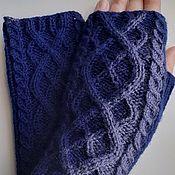 Аксессуары handmade. Livemaster - original item Knitted mitts 101, dark blue, half-wool. Handmade.