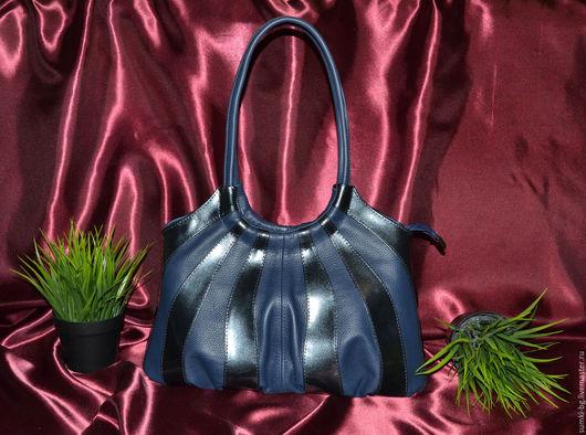 Женские сумки ручной работы. Ярмарка Мастеров - ручная работа. Купить Модель 12. Handmade. Тёмно-синий, сумка кожаная