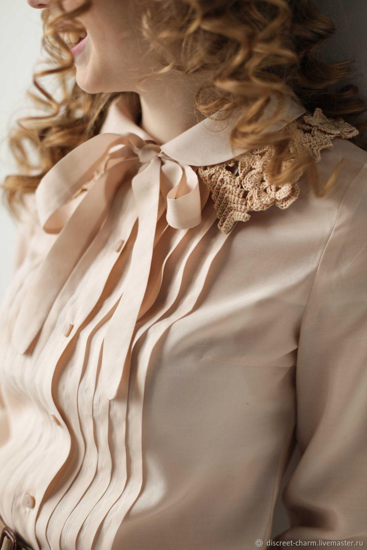 12dc19e73c1 Купить Кремовая блузка из шёлка с · Блузки ручной работы. Кремовая блузка  из шёлка с вискозой
