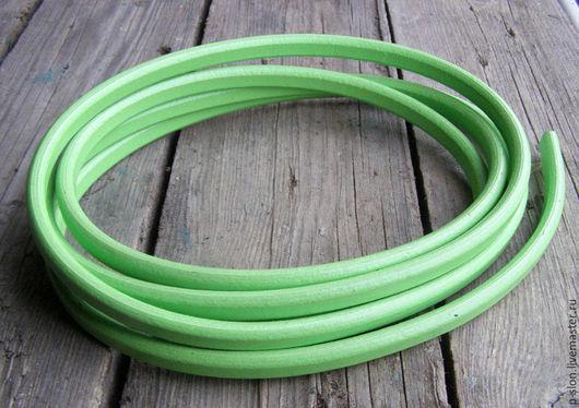Для украшений ручной работы. Ярмарка Мастеров - ручная работа. Купить Шнур кожаный для regaliz (регализ) зеленый 10х6мм. Handmade.