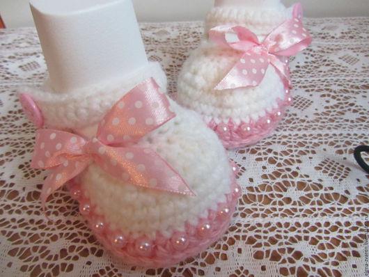 """Для новорожденных, ручной работы. Ярмарка Мастеров - ручная работа. Купить """"Розовое счастье"""". Handmade. Комбинированный, обувь для детей"""