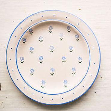 Посуда ручной работы. Ярмарка Мастеров - ручная работа Незабудки. Тарелка пищевая, керамика. Handmade.