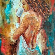 Картины и панно handmade. Livemaster - original item Oil painting palette knife Girl with coffee Nude. Handmade.