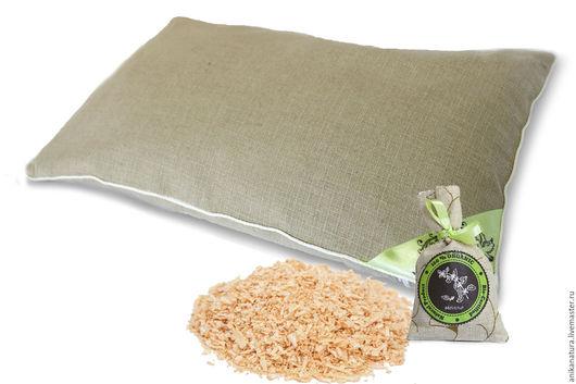 Текстиль, ковры ручной работы. Ярмарка Мастеров - ручная работа. Купить Подушка с кедровой стружкой из 100% льна + АРОМАТЫ ТРАВ. Handmade.