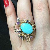 Кольца ручной работы. Ярмарка Мастеров - ручная работа Цветочное кольцо с натуральной аризонской бирюзой. Handmade.