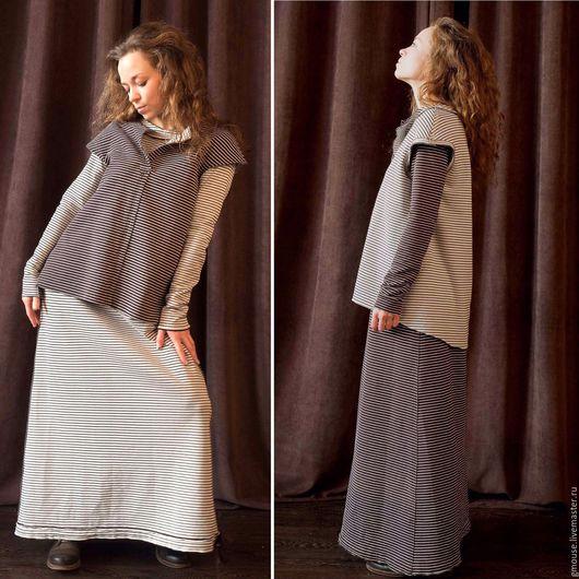 Платья ручной работы. Ярмарка Мастеров - ручная работа. Купить Платье трансформер из двустороннего трикотажа. Handmade. Коричневый, Трансформер, полосатый