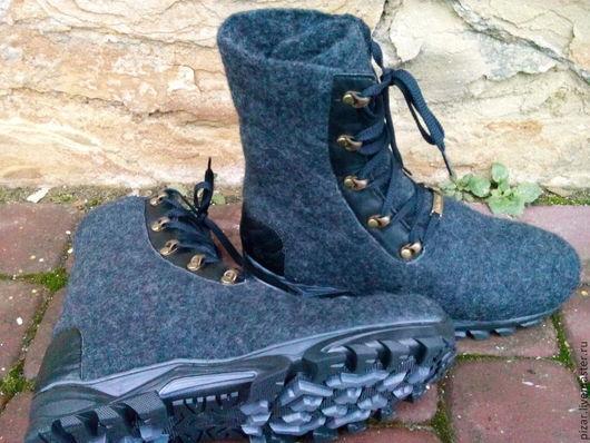 """Обувь ручной работы. Ярмарка Мастеров - ручная работа. Купить Валяные мужские ботинки """"Берцы"""". Handmade. Темно-серый"""