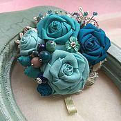 "handmade. Livemaster - original item Brooch textile ""Turquoise bouquet"". Handmade."