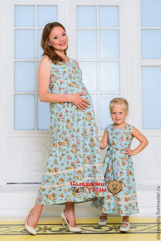 """Одежда для девочек, ручной работы. Ярмарка Мастеров - ручная работа. Купить Сарафан """"Анастасия"""". Handmade. Голубой, мама и дочка, для беременных"""