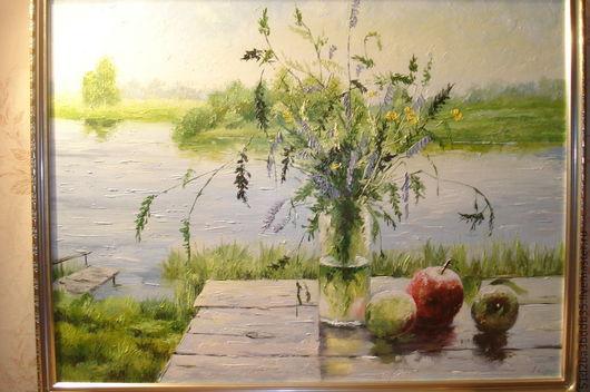 Натюрморт ручной работы. Ярмарка Мастеров - ручная работа. Купить Натюрморт с яблоком. Handmade. Картина, картина в подарок, картина для интерьера