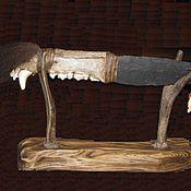 Ножи ручной работы. Ярмарка Мастеров - ручная работа Индейский медвежий нож с подставкой. Историческая реконструкция. Handmade.