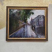 Картины и панно handmade. Livemaster - original item Oil painting urban landscape oil on canvas Peter rain gray. Handmade.