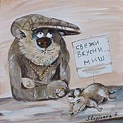 """Картины и панно ручной работы. Ярмарка Мастеров - ручная работа """"Свежи миш""""-картина на шелке с котами. Handmade."""