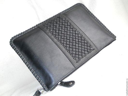 Женские сумки ручной работы. Ярмарка Мастеров - ручная работа. Купить Черный клатч с плетеной отделкой натуральная кожа. Handmade.
