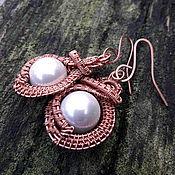 Украшения handmade. Livemaster - original item Copper earrings with pearl. Handmade.