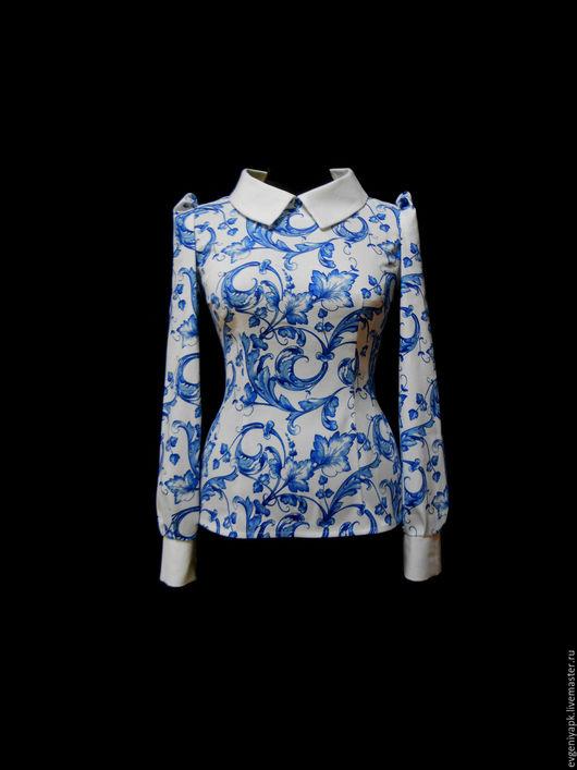 """Блузки ручной работы. Ярмарка Мастеров - ручная работа. Купить Рубашка """"Гжель осенняя"""". Handmade. Комбинированный, гжель, рубашка"""