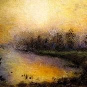 Картины и панно handmade. Livemaster - original item Painting wool bathing sun.The sunset on the lake. Handmade.