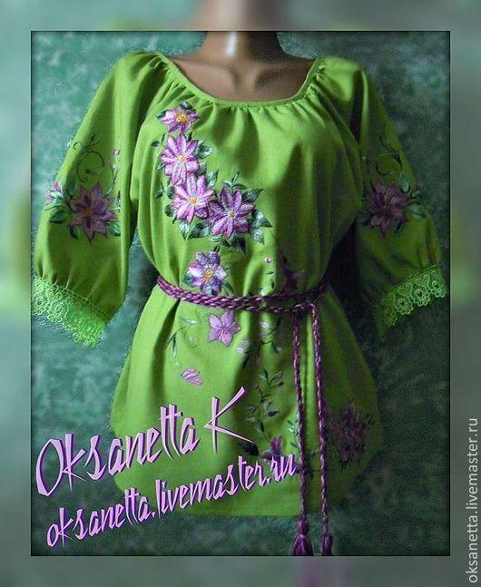 """Блузки ручной работы. Ярмарка Мастеров - ручная работа. Купить Блуза """"Клематисы 2"""". Handmade. Салатовый, клематисы, подарок женщине"""
