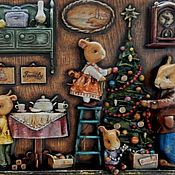 """Картины и панно ручной работы. Ярмарка Мастеров - ручная работа """"Предпраздничные хлопоты в семье Банни"""". Handmade."""