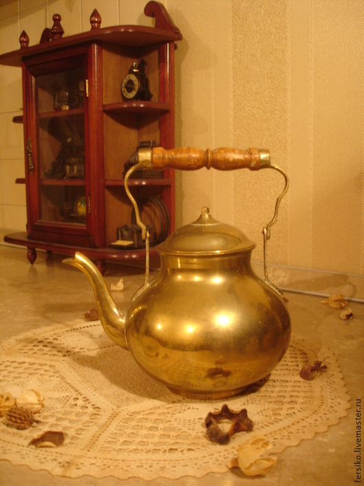 Винтажные предметы интерьера. Ярмарка Мастеров - ручная работа. Купить Старинный латунный чайничек!!!. Handmade. Старинный чайник, антиквариат
