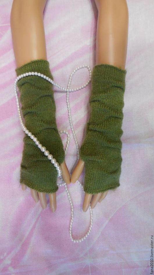 Варежки, митенки, перчатки ручной работы. Ярмарка Мастеров - ручная работа. Купить Зеленые митенки из мохера с буфами Огава. Handmade.