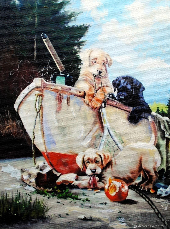 "Картина маслом ""На рыбалку"", Картины, Таганрог,  Фото №1"