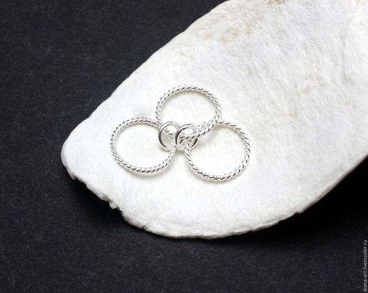 """Для украшений ручной работы. Ярмарка Мастеров - ручная работа. Купить Коннектор """" Кольца """" из серебра 925. Handmade."""