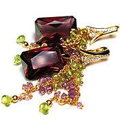"""Украшения ручной работы. Ярмарка Мастеров - ручная работа """"Спелые грозди"""" серьги грозди с турмалином и хризолитом. Handmade."""