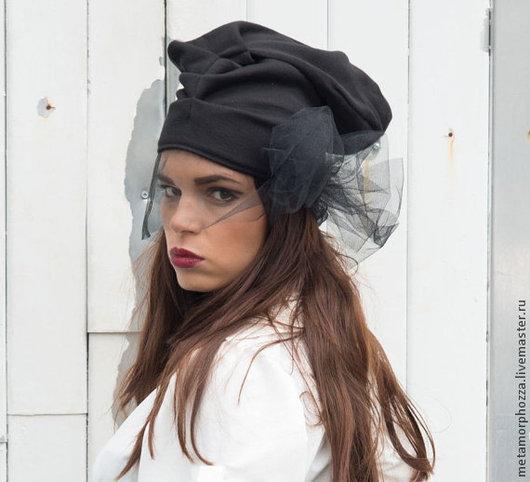 Шарфы и шарфики ручной работы. Ярмарка Мастеров - ручная работа. Купить Ретро шапка с вуалью. Handmade. Черный, шапка весенняя