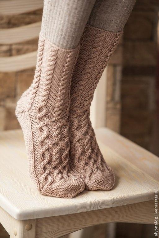 Носки, Чулки ручной работы. Ярмарка Мастеров - ручная работа. Купить носочки. Handmade. Бежевый, теплый подарок, кашемир 100%