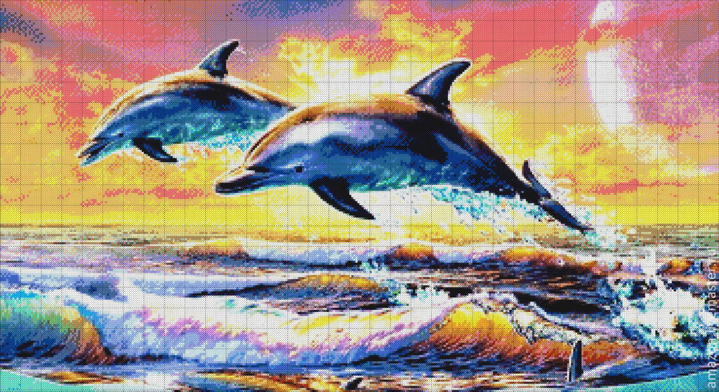 """бисером """" Дельфины на"""