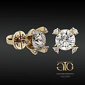 Украшения handmade. Livemaster - original item Gold studs set with diamonds and moissanite 5.70 Carat. 585. Handmade.