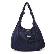 Сумки и аксессуары handmade. Livemaster - original item Blue suede big soft hobo shopper Bag. Handmade.
