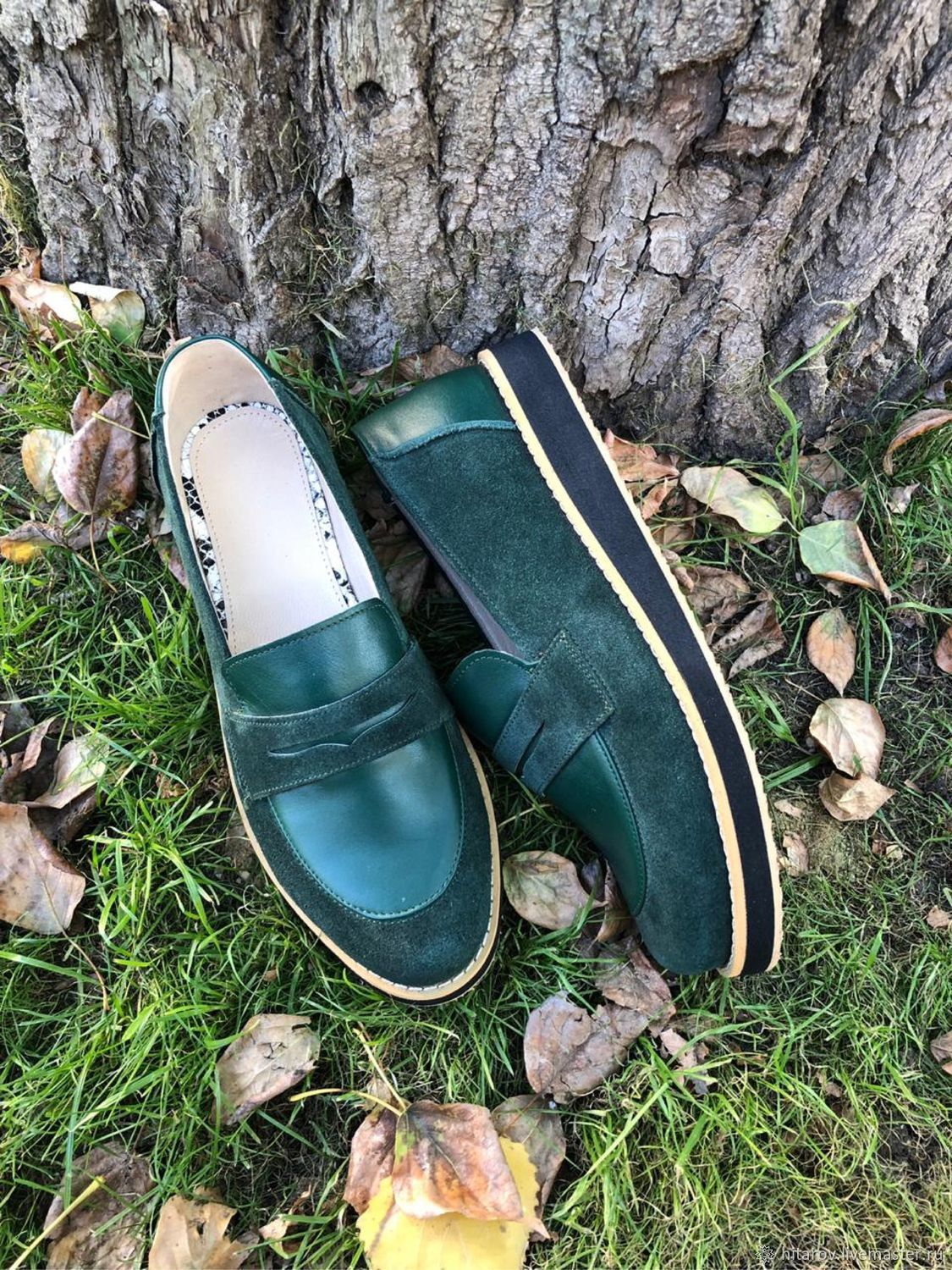 Pumps: green suede/green leather, Shoes, Moscow,  Фото №1