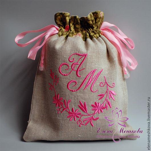Персональные подарки ручной работы. Ярмарка Мастеров - ручная работа. Купить Мешочек с монограммой (инициалами). Handmade. Комбинированный, мешочек для мелочей