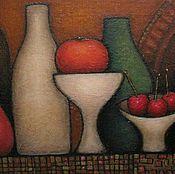 Картина Натюрморт с бутылками, вазами и фруктами