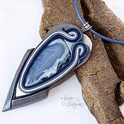 Украшения ручной работы. Ярмарка Мастеров - ручная работа Кулон из кожи с тиманским агатом. Handmade.