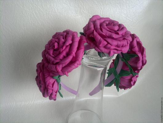 Диадемы, обручи ручной работы. Ярмарка Мастеров - ручная работа. Купить розовые розы ободок. Handmade. Розовый