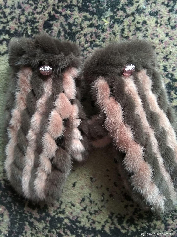 варежки из вязаной норки купить в интернет магазине на ярмарке