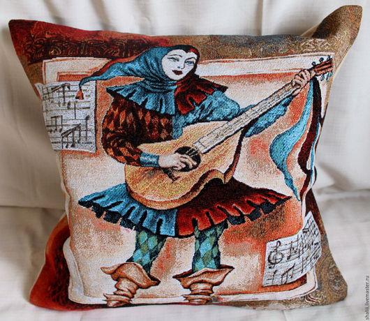 Текстиль, ковры ручной работы. Ярмарка Мастеров - ручная работа. Купить АРЛЕКИНО ГИТАРА: чехол гобеленовый, 45-45 см. Handmade.