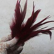 Материалы для творчества handmade. Livemaster - original item Bordeaux feathers 15 cm 45 PCs. Handmade.