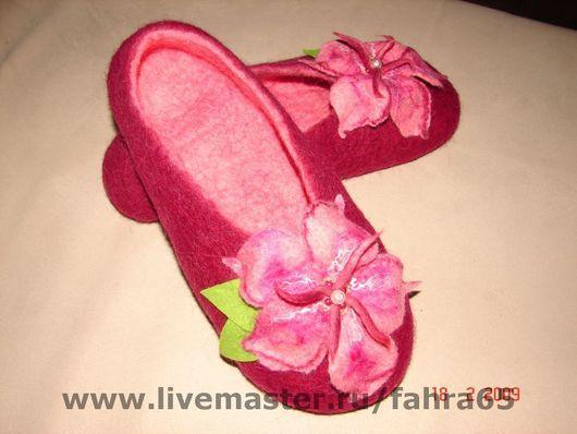 Обувь ручной работы. Ярмарка Мастеров - ручная работа. Купить Малиновый закат. Handmade. Тапки из войлока, домашние тапочки