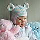 """Для новорожденных, ручной работы. Комплект шапок """"Радужный мышонок"""". Mария Green Eyes & сompany. Интернет-магазин Ярмарка Мастеров."""
