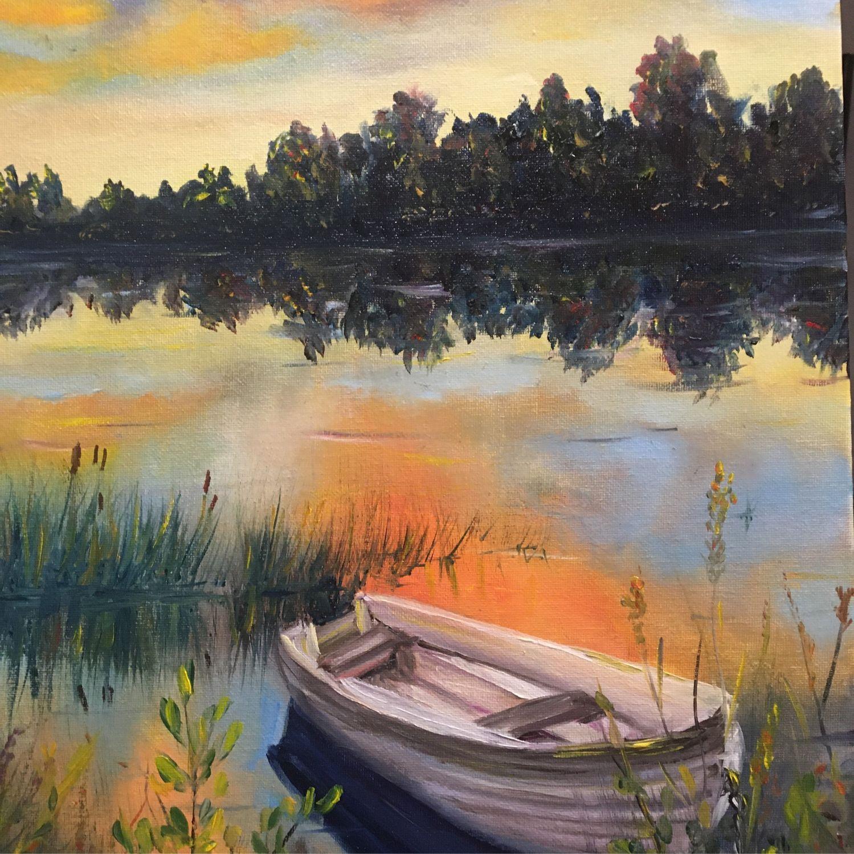 Лодка на озере. Картина маслом на холсте на оргалите 30см х 40см, Картины, Виган,  Фото №1