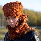 Аксессуары ручной работы. Ярмарка Мастеров - ручная работа Комплект шапка и шарф-труба Рыжая осень. Handmade.